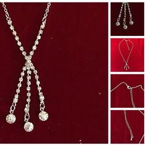 Rhinestone Triple Drop Adjustable Clasp Necklace